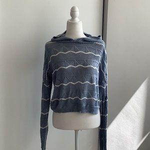 Light blue open knit hooded sweater